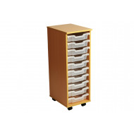Primary Single Column Mobile Tray Storage Unit With 10 Shallow Trays