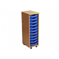 Primary Single Column Mobile Tray Storage Unit With 11 Shallow Trays