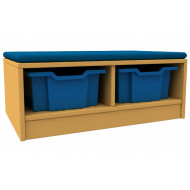 Arc double column storage and seating unit with trays