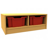 Arc double column storage unit with trays