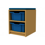 Arc Single Column Storage And Seating Unit With 2 Trays