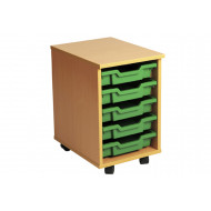 Primary Single Column Mobile Tray Storage Unit With 5 Shallow Trays