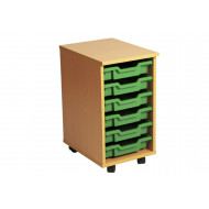 Primary Single Column Mobile Tray Storage Unit With 6 Shallow Trays