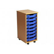 Primary Single Column Mobile Tray Storage Unit With 8 Shallow Trays