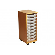 Primary Single Column Mobile Tray Storage Unit With 9 Shallow Trays