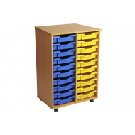 Primary double column mobile tray storage unit with 20 shallow trays