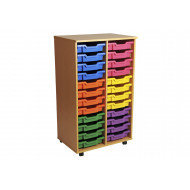 Primary Double Column Mobile Tray Storage Unit With 24 Shallow Trays