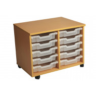 Primary Double Column Mobile Tray Storage Unit With 10 Shallow Trays