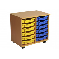 Primary Double Column Mobile Tray Storage Unit With 12 Shallow Trays
