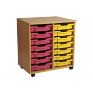 Primary Double Column Mobile Tray Storage Unit With 14 Shallow Trays