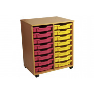 Primary Double Column Mobile Tray Storage Unit With 16 Shallow Trays