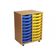 Primary Double Column Mobile Tray Storage Unit With 18 Shallow Trays