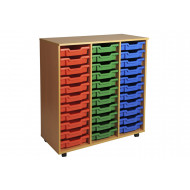 Primary triple column mobile tray storage unit with 33 shallow trays
