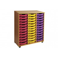 Primary Triple Column Mobile Tray Storage Unit With 36 Shallow Trays