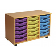 Primary Triple Column Mobile Tray Storage Unit With 18 Shallow Trays