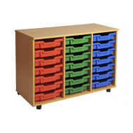 Primary Triple Column Mobile Tray Storage Unit With 21 Shallow Trays