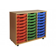 Primary Triple Column Mobile Tray Storage Unit With 27 Shallow Trays