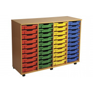 Primary 4 Column Mobile Tray Storage Unit With 40 Shallow Trays