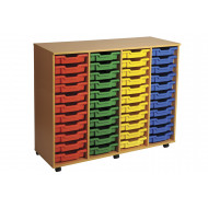 Primary 4 column mobile tray storage unit with 44 shallow trays