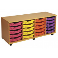 Primary 4 Column Mobile Tray Storage Unit With 20 Shallow Trays