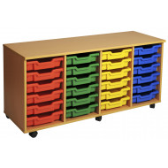 Primary 4 Column Mobile Tray Storage Unit With 24 Shallow Trays