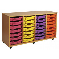 Primary 4 Column Mobile Tray Storage Unit With 28 Shallow Trays