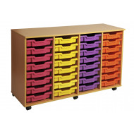 Primary 4 Column Mobile Tray Storage Unit With 32 Shallow Trays