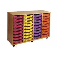 Primary 4 Column Mobile Tray Storage Unit With 36 Shallow Trays