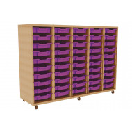 Primary 5 Column Mobile Tray Storage Unit With 50 Shallow Trays