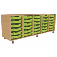 Primary 5 Column Mobile Tray Storage Unit With 30 Shallow Trays