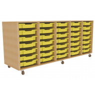 Primary 5 Column Mobile Tray Storage Unit With 35 Shallow Trays