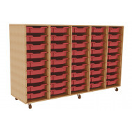 Primary 5 Column Mobile Tray Storage Unit With 45 Shallow Trays