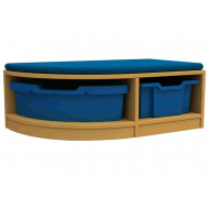Arc Single Corner Storage And Seating Unit With 2 Trays