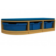 Arc Double Corner Storage And Seating Unit With 3 Trays