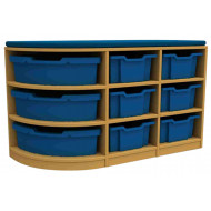 Arc Double Corner Storage And Seating Unit With 9 Trays