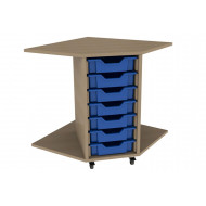 Primary Corner Storage Unit With 7 Shallow Trays