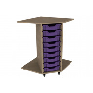 Primary Corner Storage Unit With 9 Shallow Trays