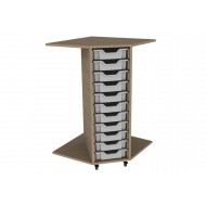 Primary Corner Storage Unit With 11 Shallow Trays