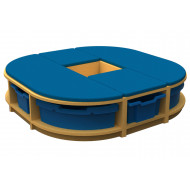 Arc Island Storage And Seating Unit With 6 Trays