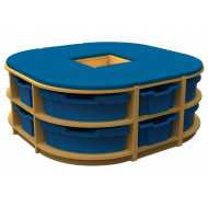 Arc Island Storage And Seating Unit With 12 Trays