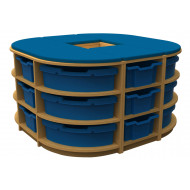 Arc Island Storage And Seating Unit With 18 Trays