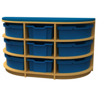 Arc D End Storage And Seating Unit With 9 Trays