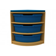 Arc Quarter Corner Storage And Seating Unit With 3 Trays