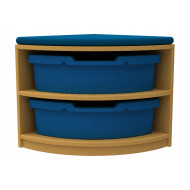 Arc Quarter Corner Storage And Seating Unit With 2 Trays