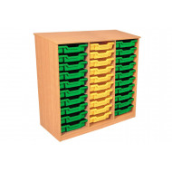 Premium Triple Column Tray Storage Unit With 30 Shallow Trays