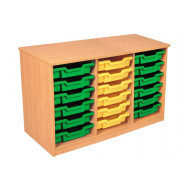 Premium Triple Column Tray Storage Unit With 18 Shallow Trays