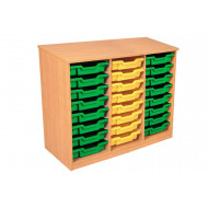 Premium Triple Column Tray Storage Unit With 24 Shallow Trays