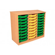 Premium Triple Column Tray Storage Unit With 27 Shallow Trays