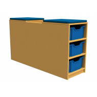 Arc book storage and seating unit with 6 trays