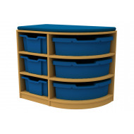 Arc Single Corner Storage And Seating Unit With 6 Trays